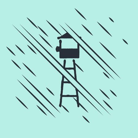 Black Watch tower icon isolated on green background. Prison tower, checkpoint, protection territory, state border, military base. Glitch style. Vector Illustration