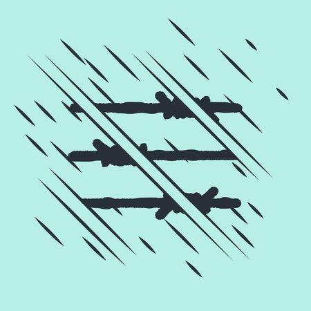 Black Barbed wire icon isolated on green background. Glitch style. Vector Illustration