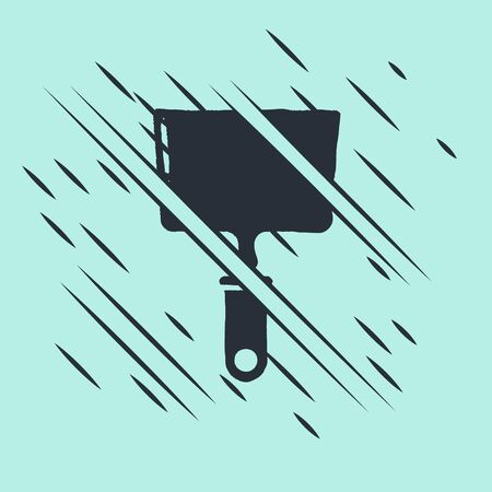 Black Putty knife icon isolated on green background. Spatula repair tool. Spackling or paint instruments. Glitch style. Vector Illustration
