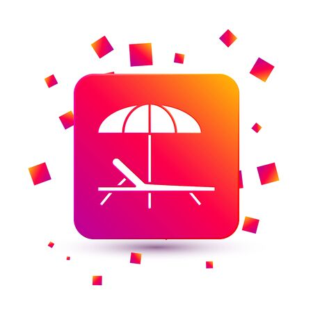 White Sunbed icon isolated on white background. Beach umbrella and Sun lounger. Square color button. Vector Illustration