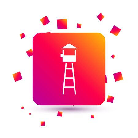 White Watch tower icon isolated on white background. Prison tower, checkpoint, protection territory, state border, military base. Square color button. Vector Illustration