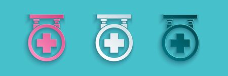 Paper cut Hospital signboard icon isolated on blue background. Paper art style. Vector Illustration