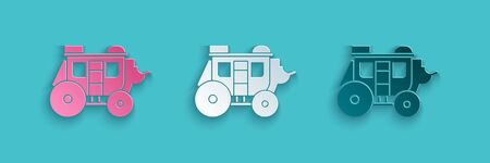 Paper cut Western stagecoach icon isolated on blue background. Paper art style. Vector Illustration