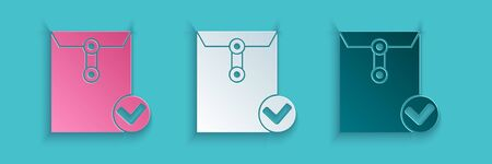 Paper cut Envelope and check mark icon isolated on blue background. Successful e-mail delivery, email delivery confirmation. Paper art style. Vector Illustration Illustration