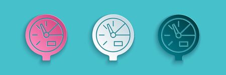 Paper cut Water meter icon isolated on blue background. Paper art style. Vector Illustration Vectores