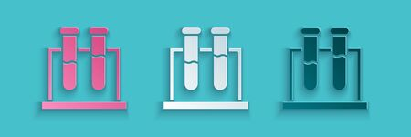 Paper cut Test tube and flask chemical laboratory test icon isolated on blue background. Laboratory glassware sign. Paper art style. Vector Illustration Stock Illustratie