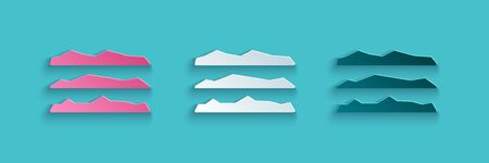 Paper cut Strips of cocaine or heroin drug icon isolated on blue background. Paper art style. Vector Illustration