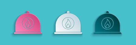 Paper cut Firefighter helmet or fireman hat icon isolated on blue background. Paper art style. Vector Illustration