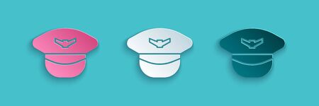 Paper cut Pilot hat icon isolated on blue background. Paper art style. Vector Illustration 向量圖像