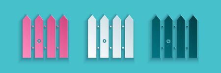 Paper cut Garden fence wooden icon isolated on blue background. Paper art style. Vector Illustration