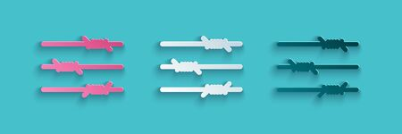 Paper cut Barbed wire icon isolated on blue background. Paper art style. Vector Illustration Illusztráció