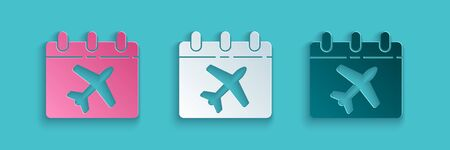 Paper cut Travel planning calendar and airplane icon isolated on blue background. A planned holiday trip. Paper art style. Vector Illustration