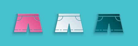 Paper cut Swimming trunks icon isolated on blue background. Paper art style. Vector Illustration  イラスト・ベクター素材