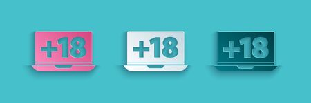 Paper cut Laptop with 18 plus content icon isolated on blue background. Age restriction symbol. Adult channel. Paper art style. Vector Illustration