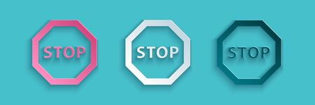 Paper cut Stop sign icon isolated on blue background. Traffic regulatory warning stop symbol. Paper art style. Vector Illustration