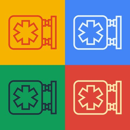 Pop art line Medical symbol of the Emergency - Star of Life icon isolated on color background.  Vector Illustration