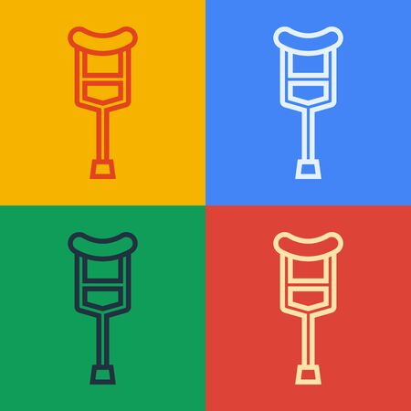 Pop art line Crutch or crutches icon isolated on color background. Equipment for rehabilitation of people with diseases of musculoskeletal system.  Vector Illustration
