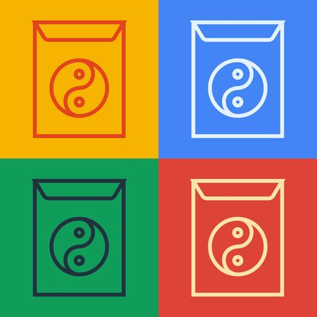 Pop art line Yin Yang and envelope icon isolated on color background. Symbol of harmony and balance. Vector Illustration Vecteurs