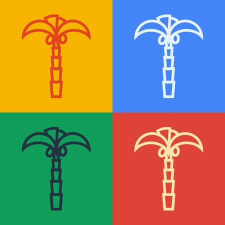 Pop art line Tropical palm tree icon isolated on color background. Coconut palm tree. Vector Illustration