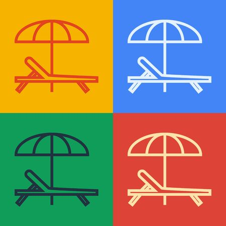Pop art line Sunbed icon isolated on color background. Beach umbrella and Sun lounger. Vector Illustration