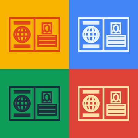 Pop art line Passport with biometric data icon isolated on color background. Identification Document. Vector Illustration Foto de archivo - 141822256