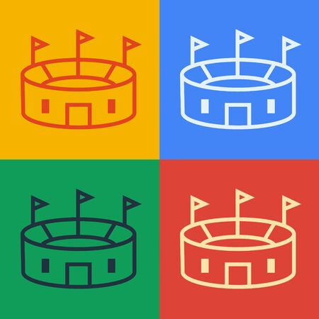 Pop art line Hockey stadium icon isolated on color background. Hockey arena. Vector Illustration