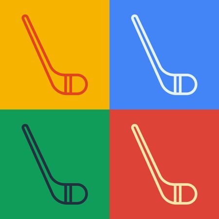Pop art line Ice hockey sticks icon isolated on color background. Vector Illustration