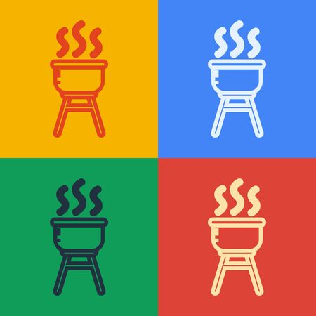 Pop art line Barbecue grill icon isolated on color background. BBQ grill party. Vector Illustration Ilustração