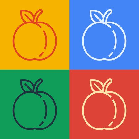 Pop art line Peach fruit or nectarine with leaf icon isolated on color background. Vector Illustration