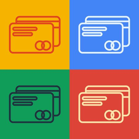Pop art line Credit card icon isolated on color background. Online payment. Cash withdrawal. Financial operations. Shopping sign. Vector Illustration Çizim