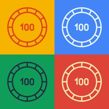 Pop art line Casino chips icon isolated on color background. Casino gambling. Vector Illustration