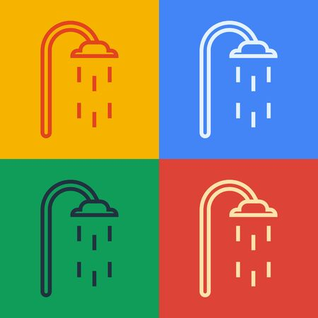 Pop art line Shower head with water drops flowing icon isolated on color background. Vector Illustration Vectores