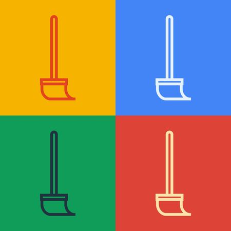 Pop art line Mop icon isolated on color background. Cleaning service concept. Vector Illustration
