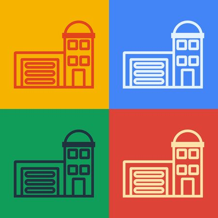 Pop art line Building of fire station icon isolated on color background. Fire department building. Vector Illustration