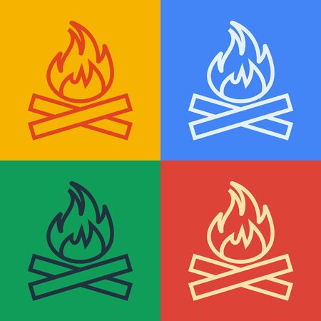 Pop art line Campfire icon isolated on color background. Burning bonfire with wood. Vector Illustration