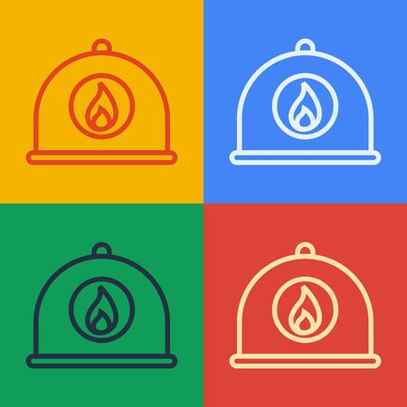 Pop art line Firefighter helmet or fireman hat icon isolated on color background. Vector Illustration