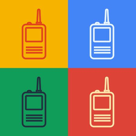Pop art line Walkie talkie icon isolated on color background. Portable radio transmitter icon. Radio transceiver sign. Vector Illustration
