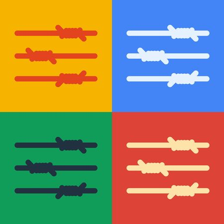 Pop art line Barbed wire icon isolated on color background. Vector Illustration