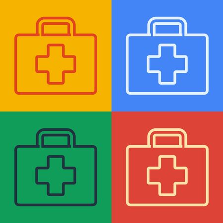 Pop art line First aid kit icon isolated on color background. Medical box with cross. Medical equipment for emergency. Healthcare concept. Vector Illustration