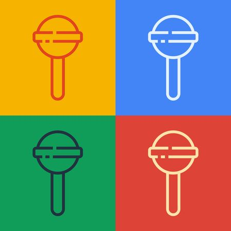 Pop art line Lollipop icon isolated on color background. Food, delicious symbol. Vector Illustration