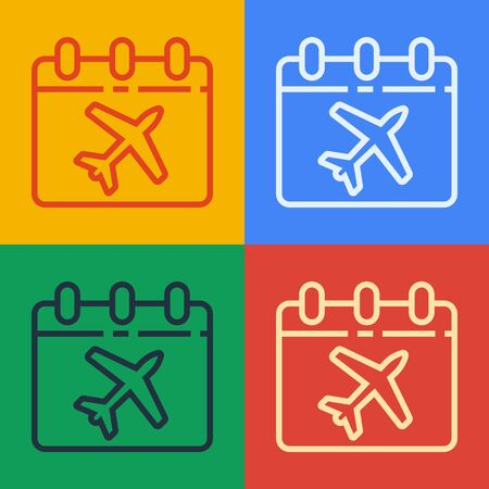 Pop art line Travel planning calendar and airplane icon isolated on color background. A planned holiday trip. Vector Illustration