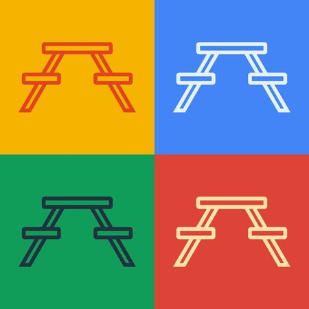 Pop art line Picnic table with benches on either side of the table icon isolated on color background. Vector Illustration