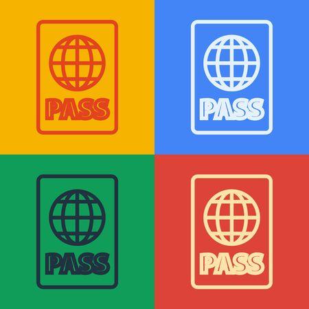 Pop art line Passport with biometric data icon isolated on color background. Identification Document. Vector Illustration Foto de archivo - 141822699