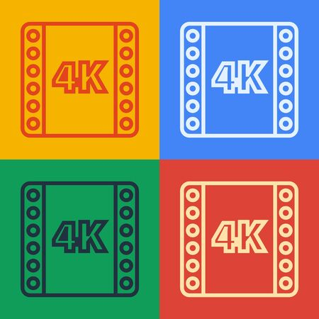 Pop art line 4k movie, tape, frame icon isolated on color background. Vector Illustration