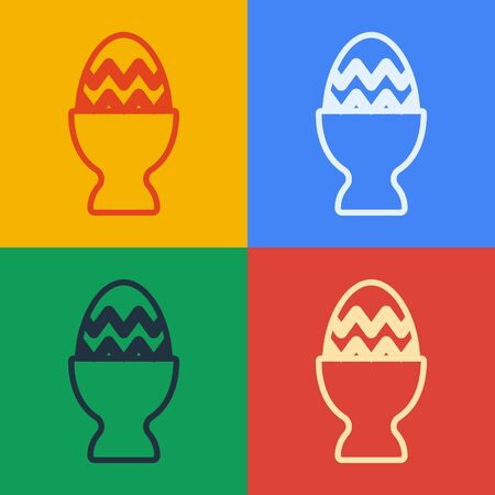 Pop art line Easter egg on a stand icon isolated on color background. Happy Easter. Vector Illustration