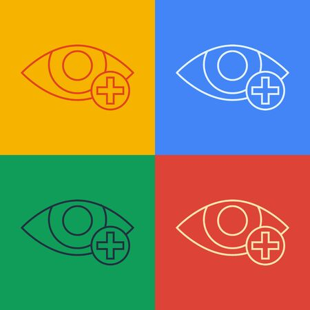 Pop art line Red eye effect icon isolated on color background. Eye redness sign. Inflammatory disease of eyes. Vector Illustration