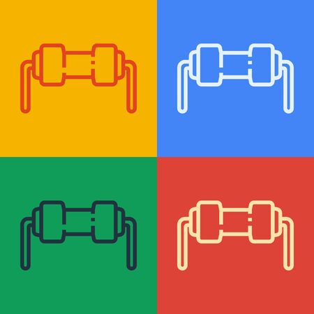 Pop art line Resistor electricity icon isolated on color background. Vector Illustration