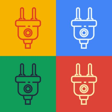 Pop art line Electric plug icon isolated on color background. Concept of connection and disconnection of the electricity. Vector Illustration 일러스트