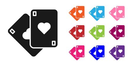 Black Playing cards icon isolated on white background. Casino gambling. Set icons colorful. Vector Illustration