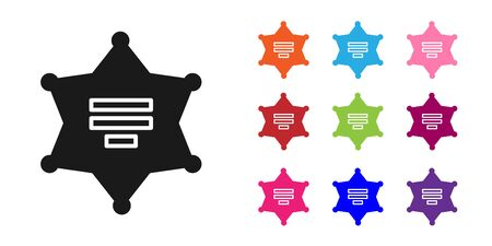 Black Hexagram sheriff icon isolated on white background. Police badge icon. Set icons colorful. Vector Illustration
